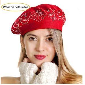 Knit Berets for Women Rhinestones 2